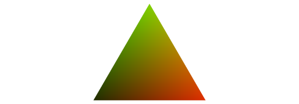 An equilateral triangle, green on top, black on the bottom-left and red on the bottom-right, with colors interpolated in between.