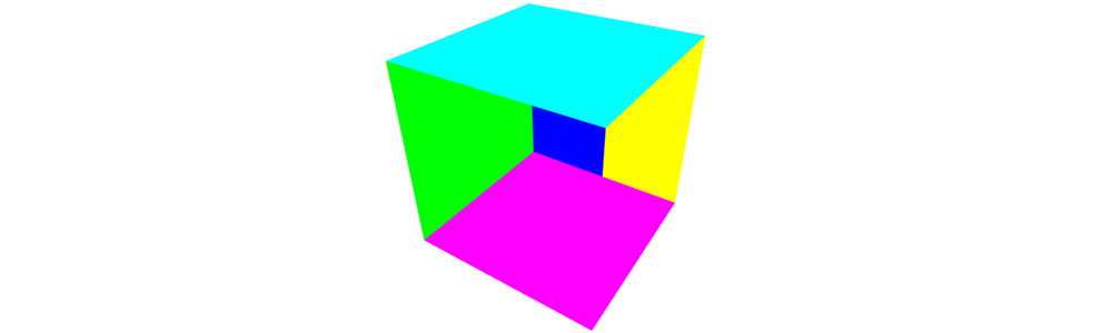 A rendering of a cube, but faces on the far side of the cube that should be hidden show up.